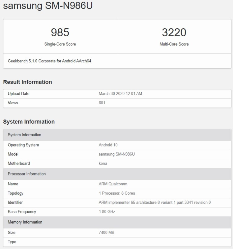 Samsung Galaxy Note 20 замечен в базе Geekbench с новым чипом Snapdragon 865 Plus